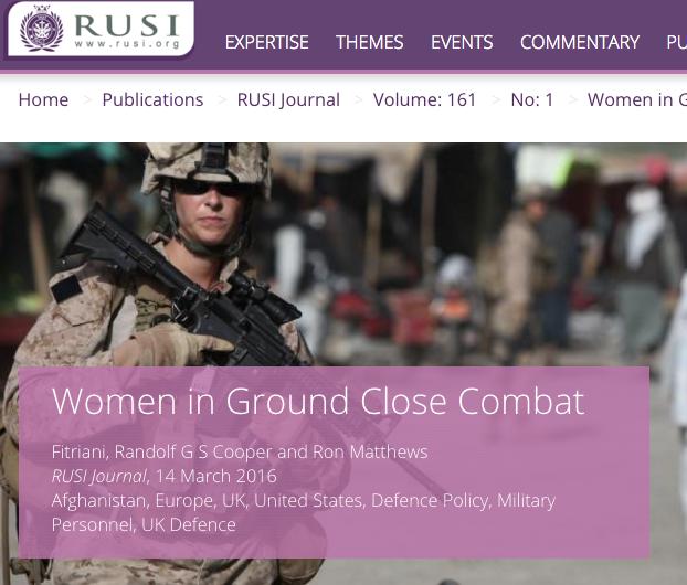 RUSI women in close combat